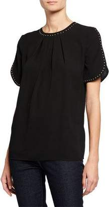 MICHAEL Michael Kors Stud Detail Short-Sleeve Top