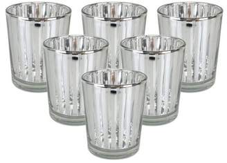 """Just Artifacts Mercury Glass Votive Candle Holder 2.75""""H (6pcs, Striped Silver) -Mercury Glass Votive Tealight Candle Holders for Weddings, Parties and Home Decor"""