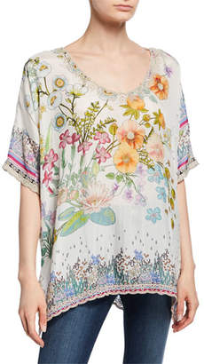 Johnny Was Floral-Print V-Neck Short-Sleeve Silk Georgette Top