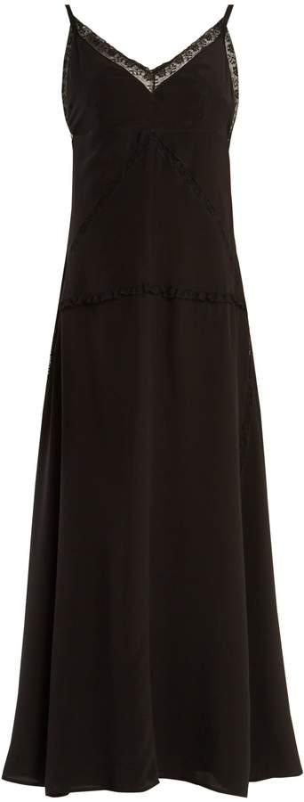 PRADA V-neck lace-trimmed silk slip dress