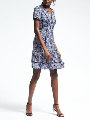 Print Embroidered-Trim Fit-and-Flare Dress $128 thestylecure.com