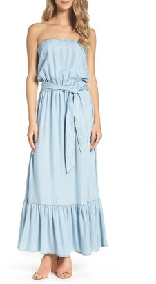 Women's Bb Dakota Kate Convertible Strapless Chambray Maxi Dress $120 thestylecure.com