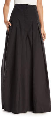 Brunello Cucinelli Crinkled Cotton Wide-Leg Skirt Pants