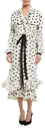 Johanna Ortiz Dragon Pearl Polka Dot-Print Self-Belt Long-Sleeve Ruffled Trench-Style Dress
