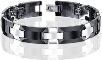 JCPenney FINE JEWELRY Mens Stainless Steel and Ceramic Link Bracelet