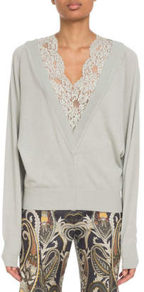 Chloé Lace-Inset V-Neck Wool-Silk Pullover Sweater