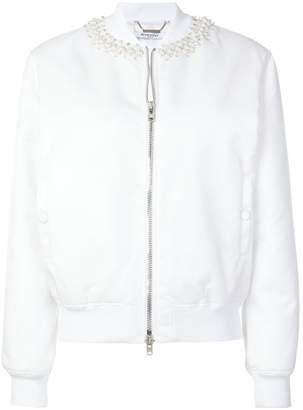Givenchy ribbed pearl-embellished neck baseball-style jacket