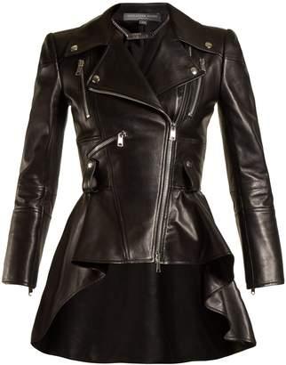 Alexander McQueen Waterfall peplum-hem leather jacket
