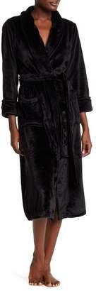 Natori N Plush Fleece Shawl Collar Robe