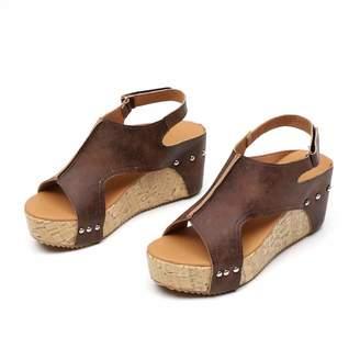 Royou Yiuoer Womens Sandals Platform Hook-Loop Buckle Wedge Ankle Strap Peep Toe Espadrille Shoes US 7