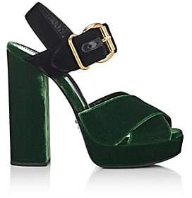 Prada Women's Colorblocked Velvet Platform Sandals-Green