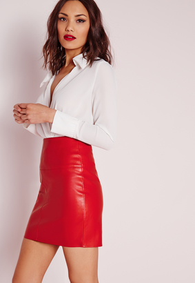 Missguided Tall Faux Leather Mini Skirt Red - ShopStyle