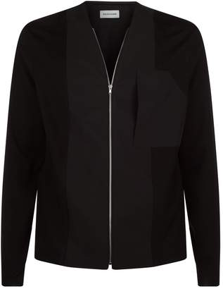Solid Homme Knitted Panel Zipped Jacket