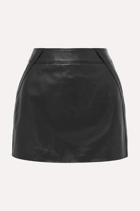 Saint Laurent Leather Mini Skirt - Black