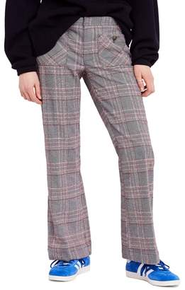 Free People Plaid Flare Pants