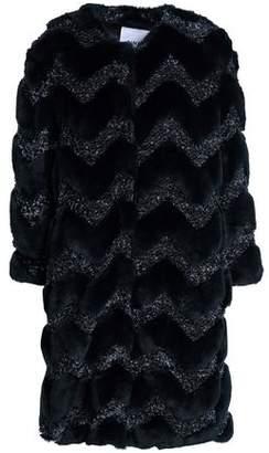 Ainea Metallic Bouclé-Trimmed Faux Fur Coat