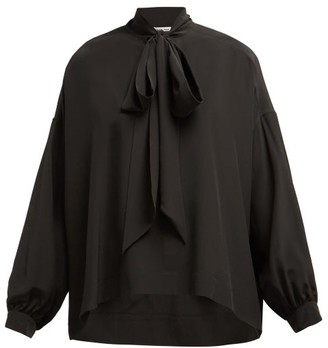 Balenciaga Oversized Pussy Bow Silk Crepe Blouse - Womens - Black