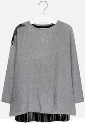 Mayoral Black-Grey Overlay Dress