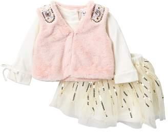 Nicole Miller Top, Embellished Faux Fur Vest & Sequin Trim Tulle Skirt Set (Baby Girls)