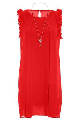 Quiz Red Frill Shoulder Necklace Tunic Dress