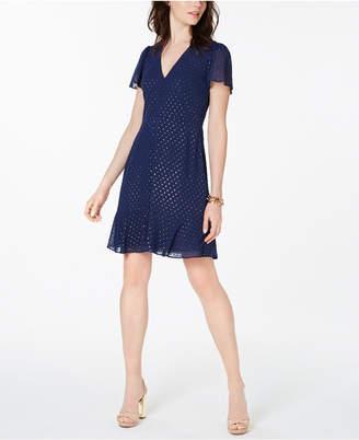 Michael Kors Flutter-Sleeve A-Line Dress