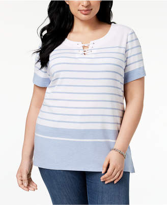 Karen Scott Plus Size Striped Lace-Up Top, Created for Macy's