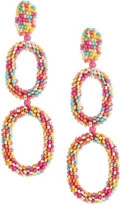 Etereo Colour Beaded Oval Link Drop Earrings