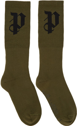 Palm Angels Green PA Socks $55 thestylecure.com