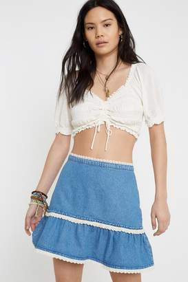Urban Outfitters Tilly Denim Tiered Mini Skirt