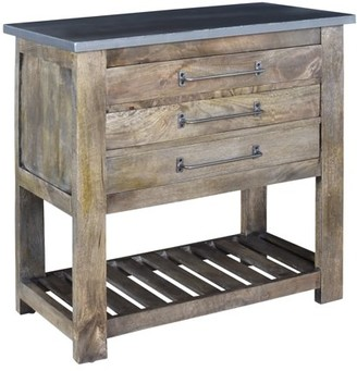 Crestview Collection Bengal Manor Mango Wood 3 Drawer Charcoal Grey Chest w/Metal Top