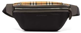 Burberry Sonny Vintage Check Panelled Belt Bag - Mens - Black
