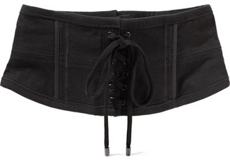 Isabel Marant - Herese Lace-up Cotton-blend Waist Belt - Black $470 thestylecure.com
