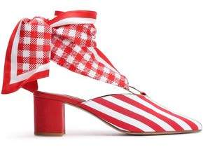 Mother of Pearl Amber Gingham And Striped Canvas Mules
