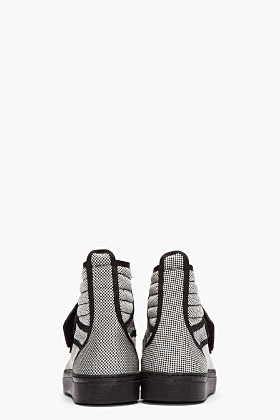 Raf Simons Black and white checkered metallic strap high-tops