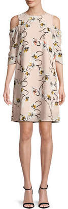LORI MICHAELS Floral Cold-Shoulder Shift Dress