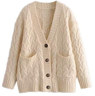 Goodnight Macaroon 'Adrianne' Cable Knit Button Down Cardigan