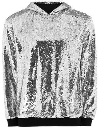 Topman Mens Silver Sequin Hoodie