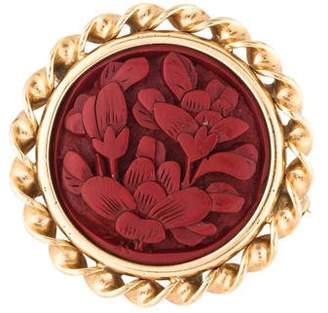 Brooch 14K Floral Cinnabar Cameo Brooch