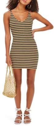 Topshop Metallic Stripe Body-Con Dress