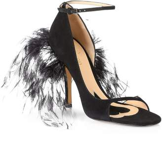 Valentino Suede & Feather High-Heel Sandals