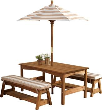 Kid Kraft Kids' Outdoor Table & Bench Set with Cushions & Umbrella, Oatmeal