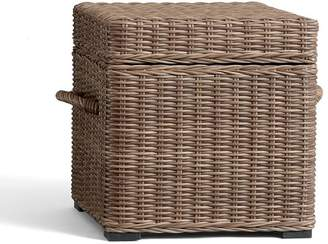 Pottery Barn Torrey All-Weather Wicker Cube, Natural