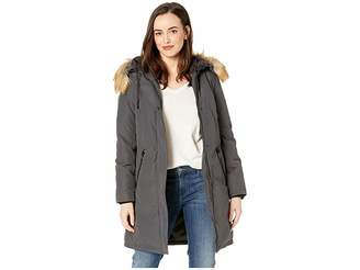 Vince Camuto Long Heavy Weight Down Coat with Sherpa Hood and Faux Fur Trim R1661