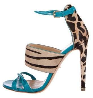 Sergio Rossi Ponyhair Ankle-Strap Sandals