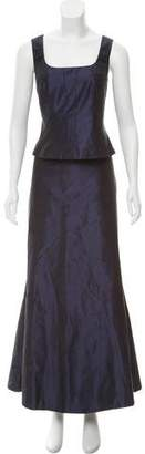 Carmen Marc Valvo Silk Maxi Skirt Set
