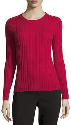Liz Claiborne Womens Round Neck Long Sleeve Pullover Sweater-Petite