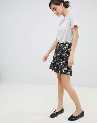 Oasis Floral Print Frill Front Mini Skirt
