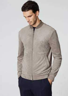 Giorgio Armani Blouson In Alcantara-Type Fabric With A Ribbed Collar