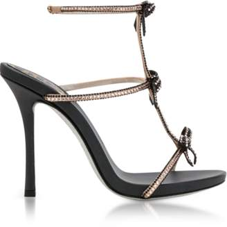 Rene Caovilla Caterina Black/Nude Satin T-Bar Sandals w/Crystals
