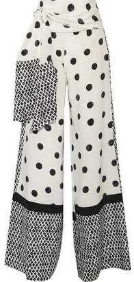 Oscar de la Renta Printed Silk Crepe De Chine Wide-Leg Pants